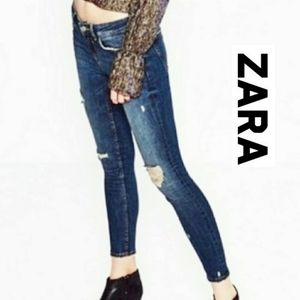 Zara Trafaluc Distressed High Skinny Ankle Jeans 8